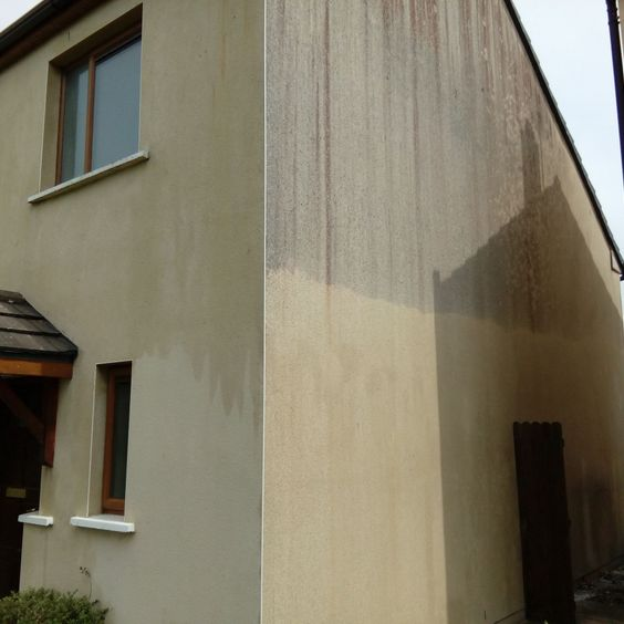 Rendered Wall Cleaning Before and After